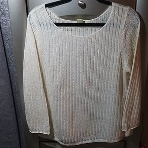 NWOT Off white knit sweater 3/4 sleeves